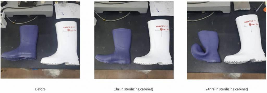 STICO長靴の反収縮性素材